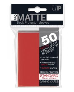 UP - Deck Protector Sleeves - PRO-Matte - Standard Size (50) - Red